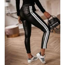 Pantaloni PU cu dunga silver