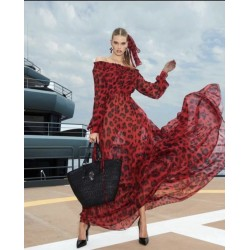 Rochie voal animal print red
