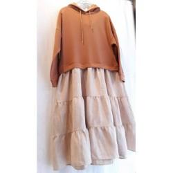 Bluzon rochie maron cu volane