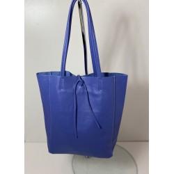 Shopper bag piele naturala mov