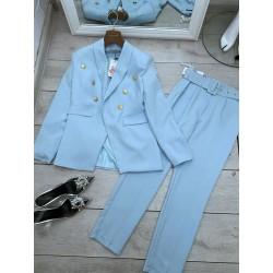 Costum cu centura bleu