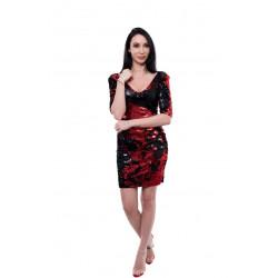 Rochie paiete negru/rosu