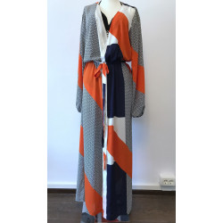 Caftan din voal abstrakt orange