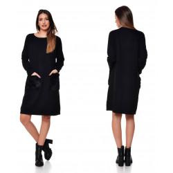 Rochie pulover negru cu buzunare cu blana