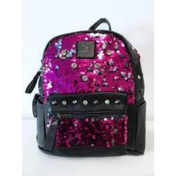 Backpack cu paiete reversibile pink silver