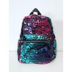 Backpack cu paiete negre si flori brodate