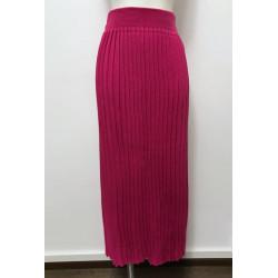 Fusta plisata tricotata fucsia