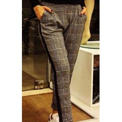 Pantoloni cadrilati cu dunga laterala