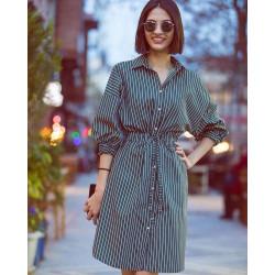 Camasa rochie verde cu dungi