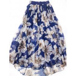 Fusta maxi din matase albastra cu flori