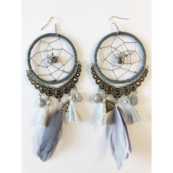 Cercei oversized dream catcher light pink