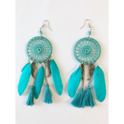 Cercei oversized dream catcher turqoise