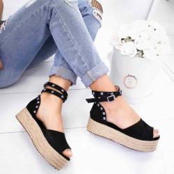 Sandale negre cu platforma si cu bareta