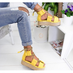 Sandale cu platforma verde maron