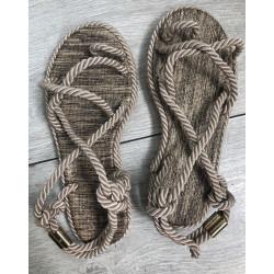 Sandale bej din sfoara model 2