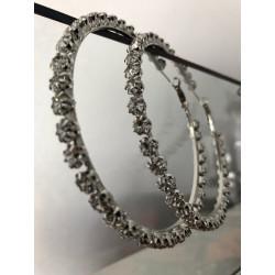 Cercei oversized silver sparkle