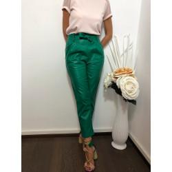 Pantaloni piele rosii cu funda