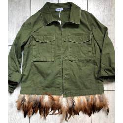jacheta din doc kaki cu pene