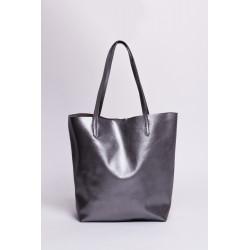 Shopper bag piele naturala gri inchis metalizat