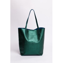 Shopper bag piele naturala auriu light metalizat