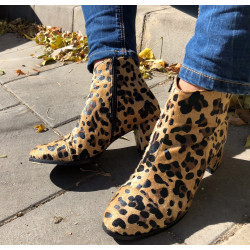 Botine animal print cu bot rotund