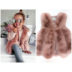 Vesta blana artificiala roz de fetita