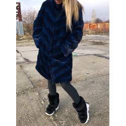Haina blana artificiala neagra cu albastru