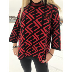 Pulover geometric black and red turtleneck