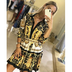 Compleu gold fashion cu fusta plisata