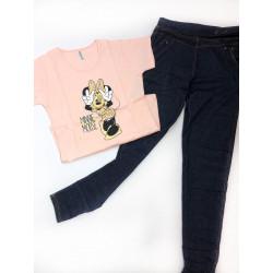 Set tricou gri Minnie cu colant jeans