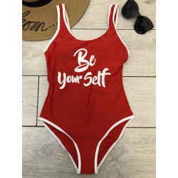 Costum de baie be yourself rosu
