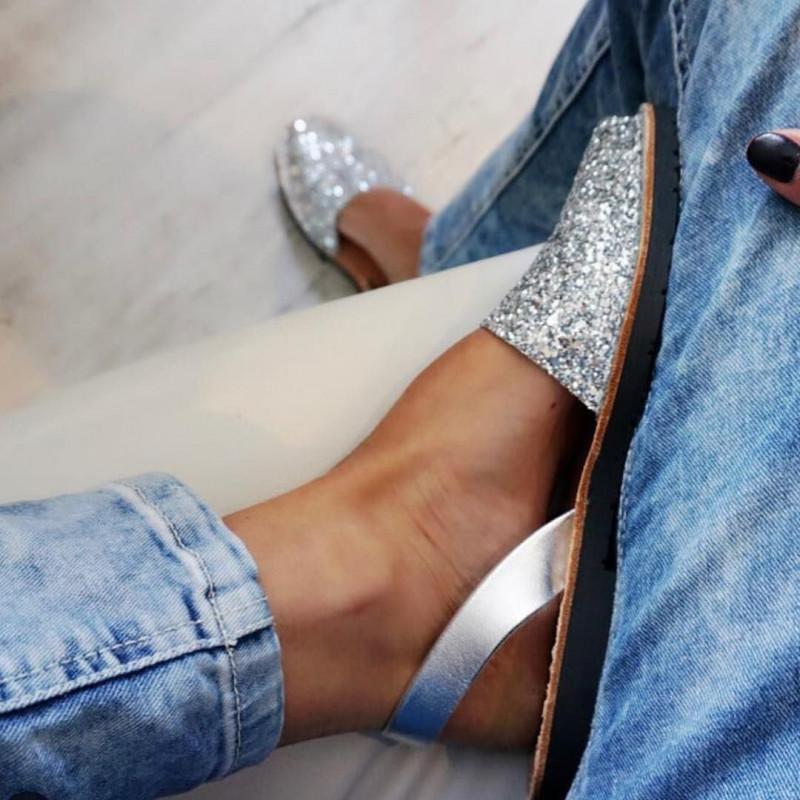 Sandale espadrila glitter auriu