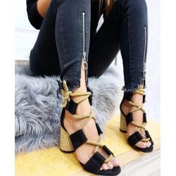 Sandale negre cu toc rotund