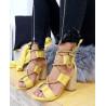 Sandale galbene cu toc rotund