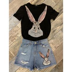 Compleu blugi scurti si tricou Bunny