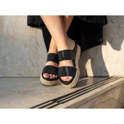 Papuci black glitter