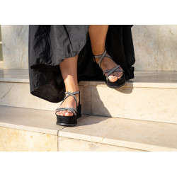 Sandale platforma aurii glitter