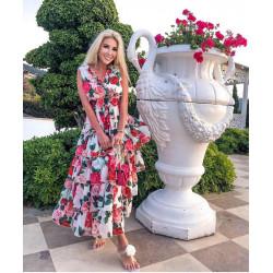 Rochie lunga cu volane si flori