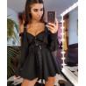 Rochie camasa neagra cu catarame