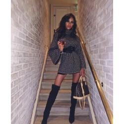 Rochie pulover maron