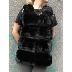 Vesta blana atificiala neagra cu insertii din piele eco
