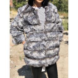 Haina blana artificiala foxy lunga gri