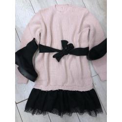 Rochie pulover ghi cu bordura din tulle