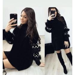 Rochie pulover cu blanita si perlute