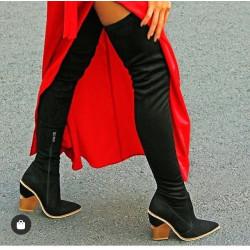 Cizme lungi negre cu toc fashion