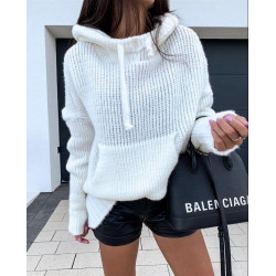 Hanorac tricot alb