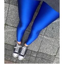 Colanti satinati albastru...