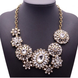 Colier statement crystal flowers