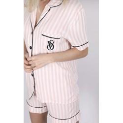 Pijama silky du dungi roz...